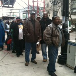 People in the second half of the line along South 53rd Street didn't mind waiting for their Obama victory breakfast today.