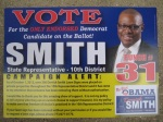 A flyer for State Rep. Derrick Smith, found outside a residential building in Bucktown. (Side one)